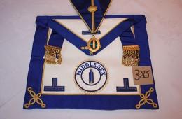 Craft – Provincial Grand Rank Undress Apron, Collar & Collar Jewel (PPJGW  Middlesex)